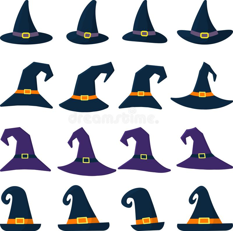 Set of sixteen different witch hat in cartoon style. Happy Halloween. stock illustration