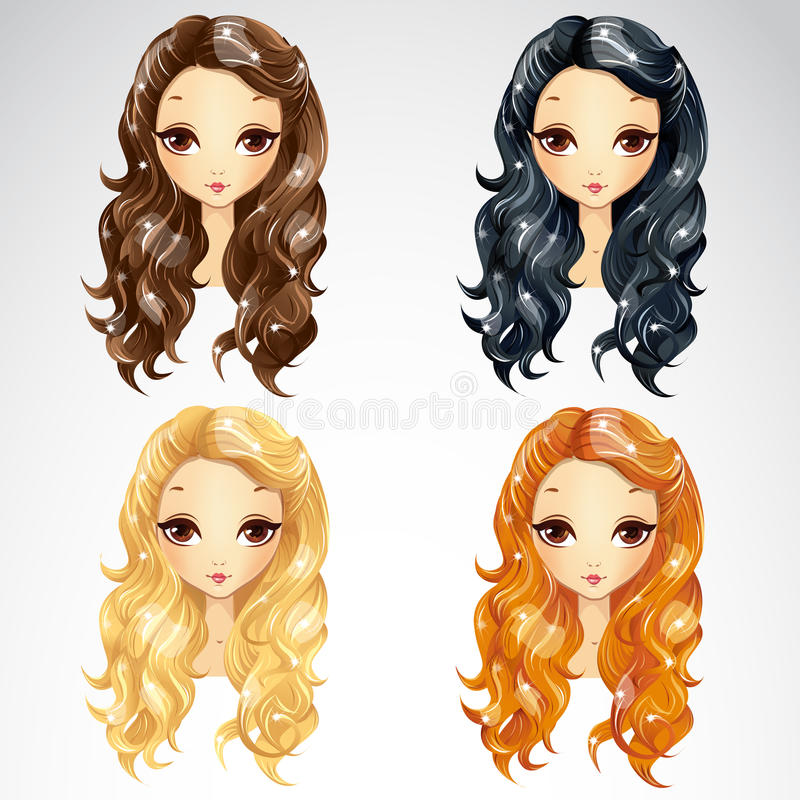 Set Of Wave Long Hair Styling stock illustration