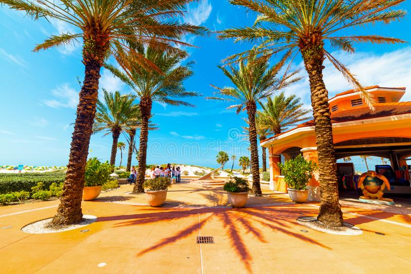 Small square in Clearwater Beach on a sunny day. Clearwater, USA - February 24, 2019: Small square in Clearwater Beach on a sunny day, tampa, tropical, florida royalty free stock images