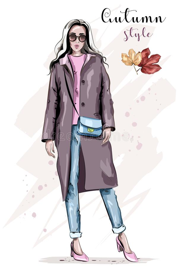Stylish hand drawn woman in coat. Beautiful fashion woman in sunglasses. Fashion autumn outfit. Sketch vector illustration