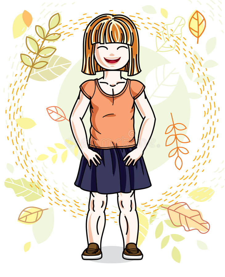 Sweet little redhead girl standing on background of autumn lands. Cape and wearing stylish casual clothes. Vector kid illustration royalty free illustration