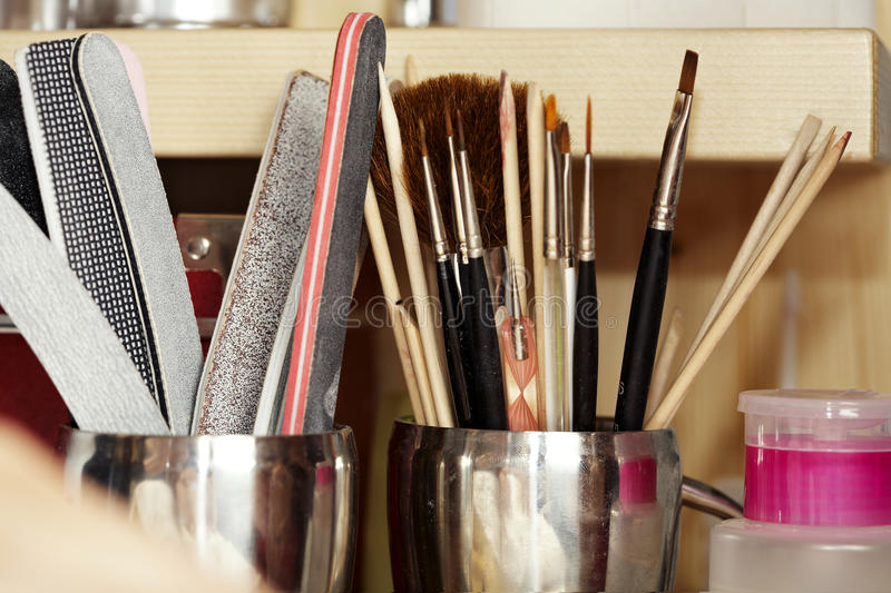 Tools in nail studio royalty free stock photography