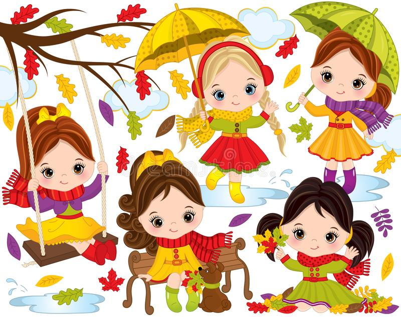 Vector Autumn Set with Cute Little Girls and Colorful Leaves. Vector autumn set. Set includes cute little girls with umbrellas, autumn colorful leaves, dog vector illustration