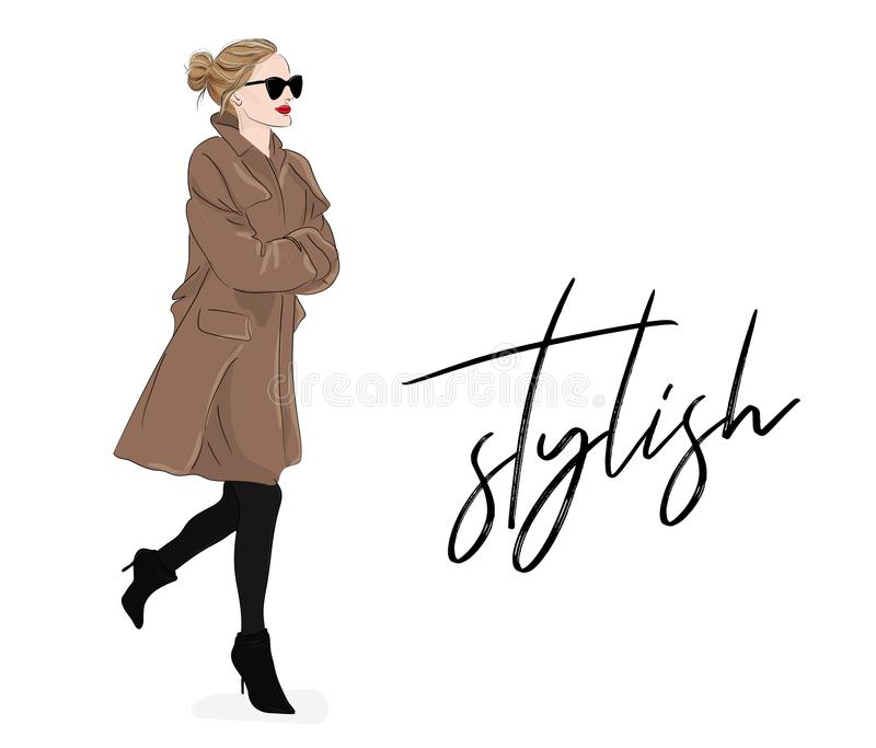 Vector fashion illustration: girl in beige coat and sunglasses. Spring Autumn model drawing poster. Magazine stulish. Look. Cute elegant business outfit vector illustration