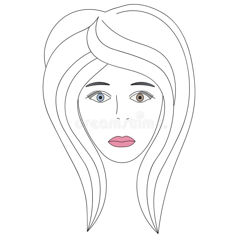 Vector illustration of a girl`s face with heterochromia. One eye is blue, the other is brown. Full face. Haircut for medium hair-c. Ascade. Her plump lips were stock illustration