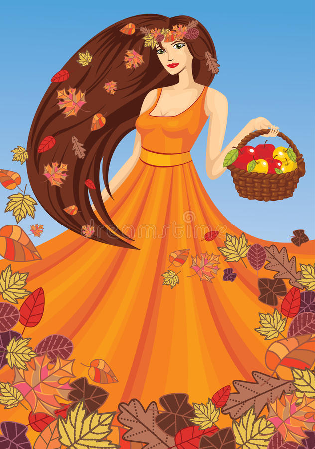 Vector lady autumn. With basket vector illustration