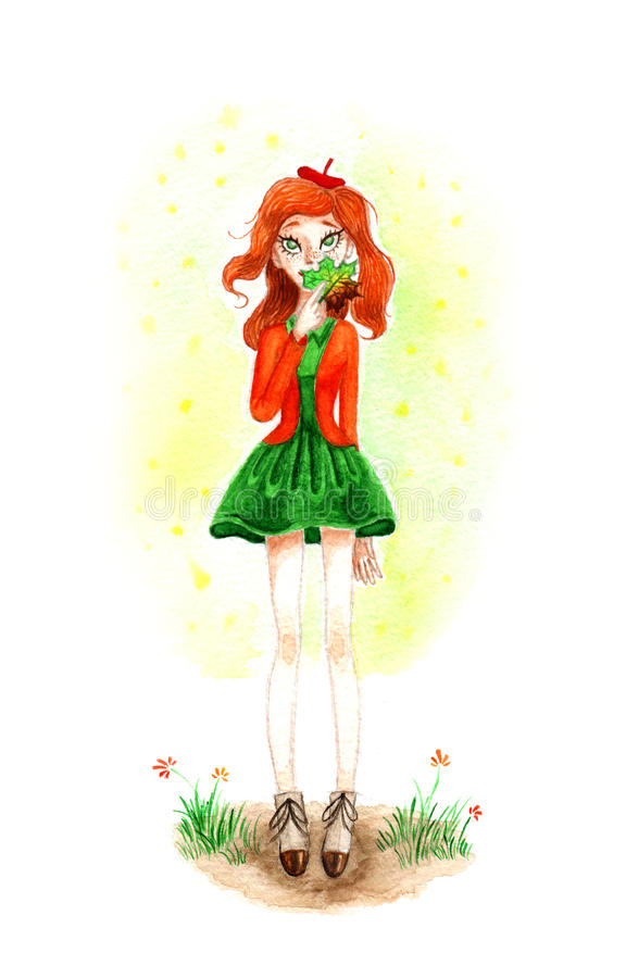 Watercolour Autumn Girl with Leaf. Watercolour drawing of dreaming autumn girl with leaf royalty free illustration