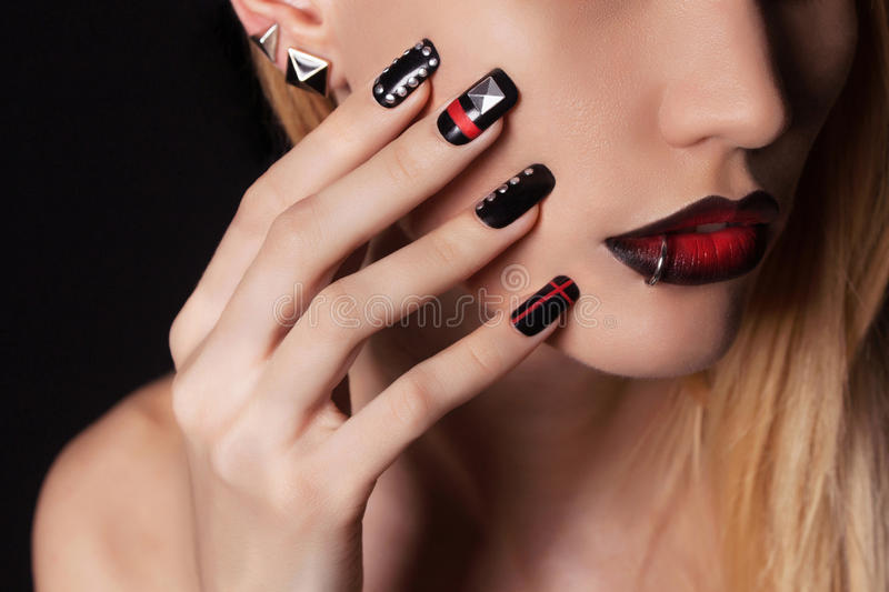 Woman with Nail design manicure royalty free stock images
