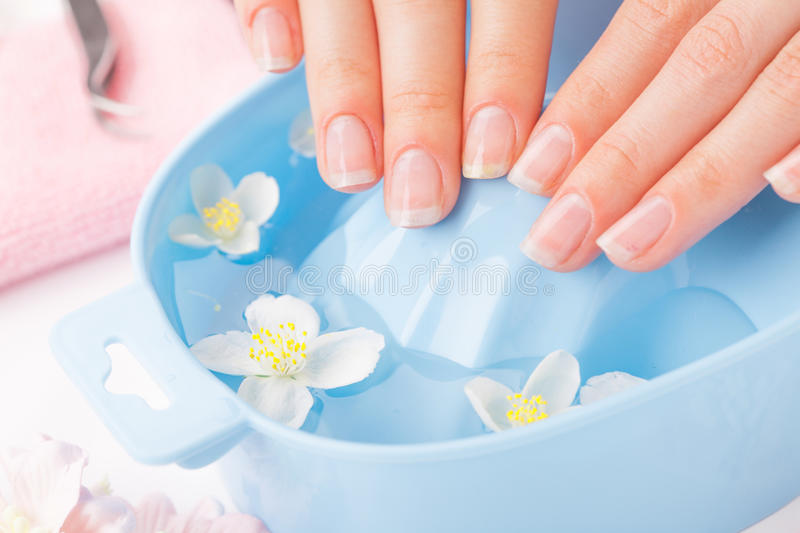 Woman`s nails with beautiful french manicure stock photos