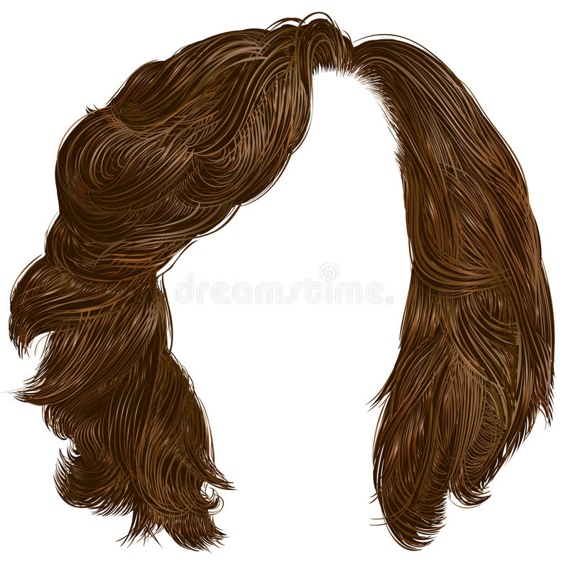 Wooman curly hairs dark colors . Wooman curly hairs dark brown colors . beauty vector illustration