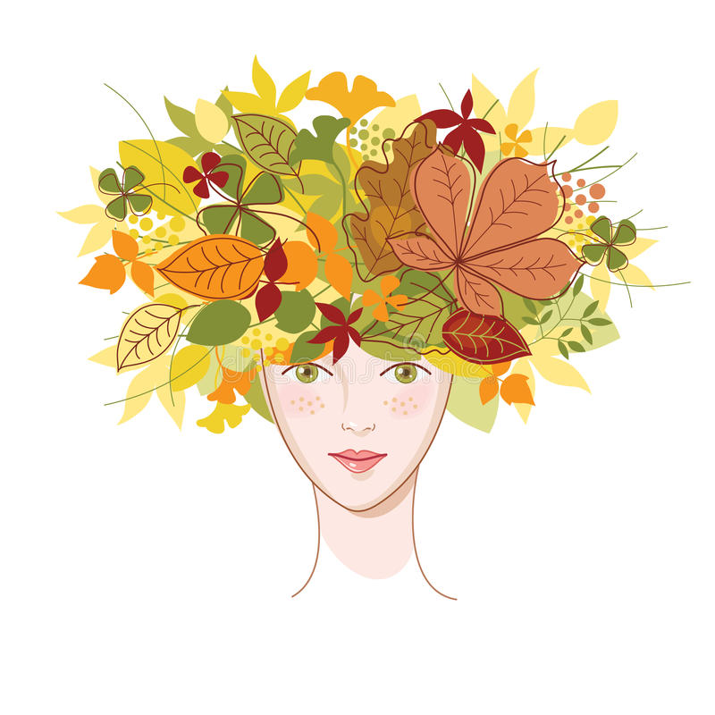 Young woman with autumn leaves. Illustration stock illustration