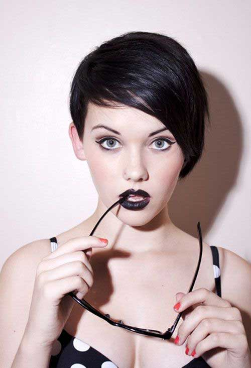 Dark Pixie Cut for Oval Face