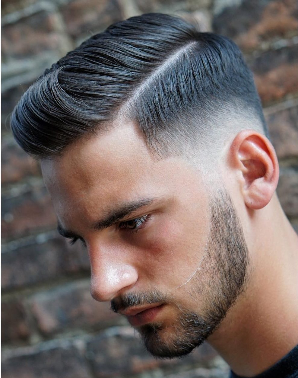 Quiff haircut with a side part