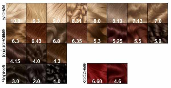 Палитра красок для волос гарньер